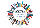 logo to promote Academic Libraries Around the World exhibit with title encircled by colorful book spines extended outward