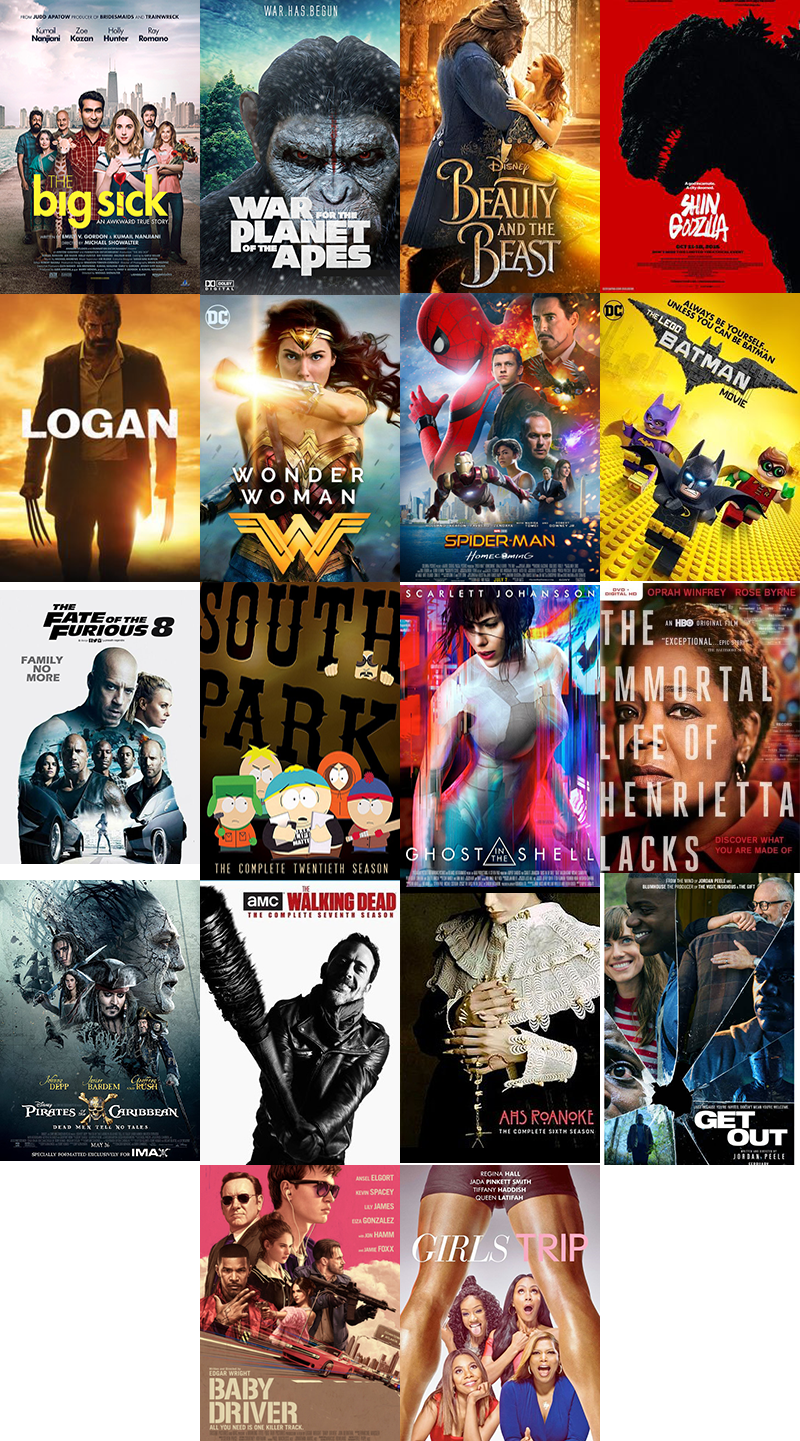 Movie covers Leisure Viewing 2017