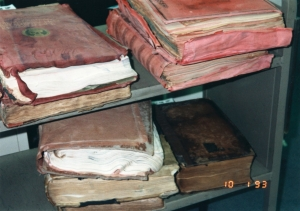 damaged books from Paterno flood