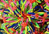colorful, plastic expandable toys
