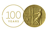 logo to commemorate the centennial of the Pulitzer Prize with an image of the medal to the right of the numerals for 100 enclosed in a circle