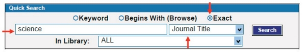 Image of the CAT showing how to search for a journal by using the exact journal title search option.